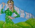 Traumfrau (Paris Hilton) nicht nur für aller Männer, jung, schön, blond, schlank, im Haushalt fleißig und Geld hat sie auch. ;-)))))In der Wäsche sind als Collage Geldscheine eingearbeitet.